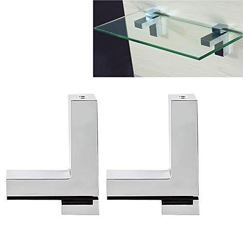 Soporte ajustable para estante de madera y cristal, aleación de zinc, cromo pulido, soporte de esquina para estante de 3 a 30 mm de grosor, soporte de vidrio montado en la pared, soporte de madera