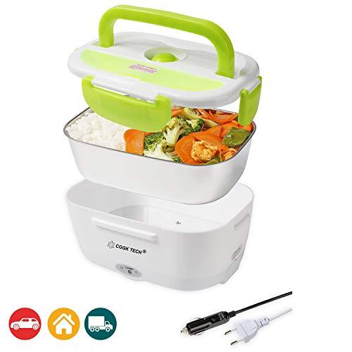 CGGK TECH Boîte Chauffante Hermétique Gamelle Lunch Box Électrique 12V 220V Qualité Alimentaire pour Repas Chaud en Acier INOX