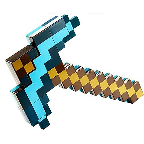 Diamond Sword Toy Blue 2-en-1 Espada de plástico 54cm y Piqueta 42cm,Espada Telescópica,Equipo de Modelo,Minecraft Dungeons de Espada,Accesorio para Fiestas de Disfraces y Juegos al Aire Libre