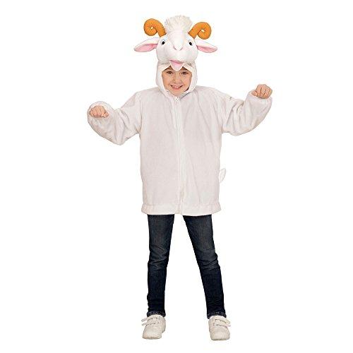 Widmann 97445 - Kinderkostüm Ziege aus Plüsch, Jacke mit Kapuze und Maske, weiß, Größe 104