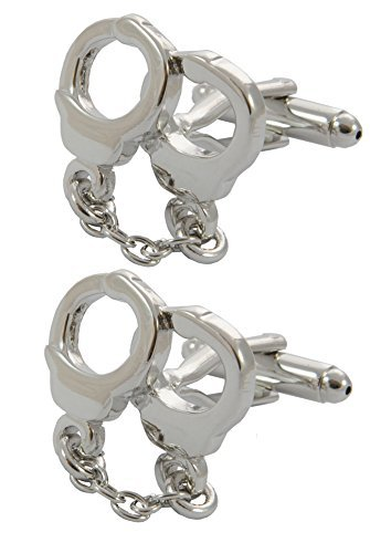 COLLAR AND CUFFS LONDON - PREMIUM Cufflinks WITH GIFT BOX - Handcuffs and Chain - Crime Police Security Guard - Silver Color