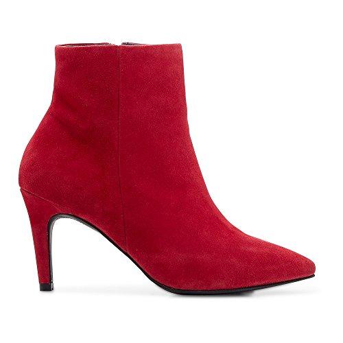 Cox Damen Stiefelette aus Leder, Ankle Boots in Rot mit Pfennig-Absatz Rot Glattleder 38