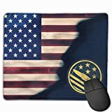 US USA Flag P-51 Mustang Non-Slip Rubber Base Mousepad - Mouse Pad with Stitched Edge for Laptop Computer & PC