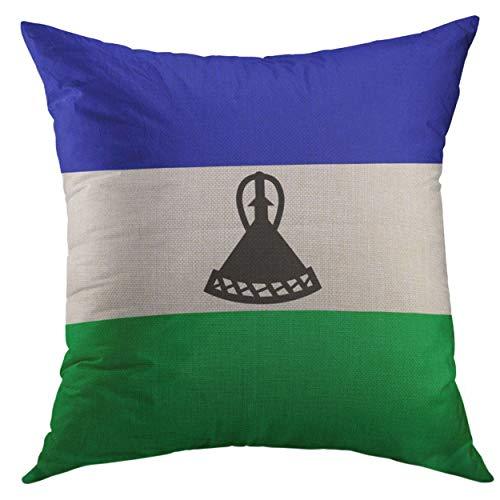 Funda de almohada decorativa para sofá, cama, decoración del hogar, bandera Lesotho, viajes, abstracto, artístico África, funda de almohada de 45,7 x 45,7 cm