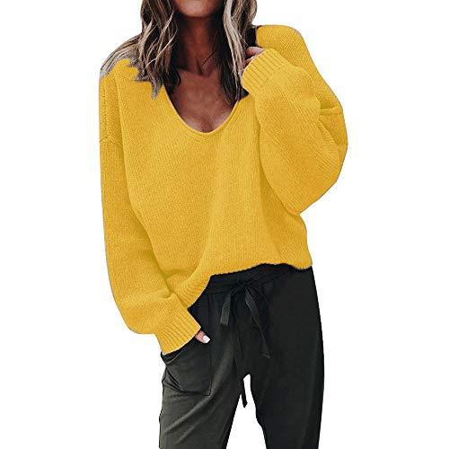 Strung Damen Mode Herbst Sweatshirt Tiefer V-Ausschnitt Sweater Langarm Pullover Hoodie Bluse Große Größe Strickpullover Frauen Mädchen Casual Jumper Hemd Kapuzenjacke Kapuze Sweatjacke