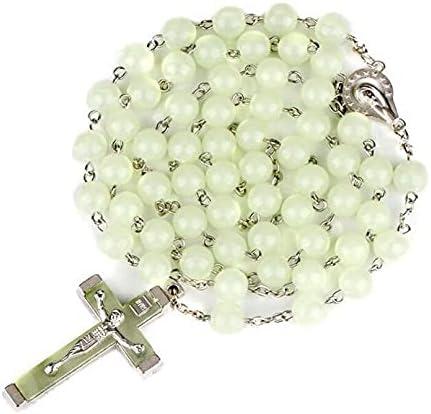 Ladies Necklace 8MM Luminous Christian Catholic Rosary Jewelry Luminous Rosary Cross Necklace
