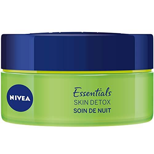 NIVEA Soin de Nuit Skin Detox + Hydratation intense 48H, crème hydratante visage avec Thé vert & Acide Hyaluronique, soin femme pour tous types de peaux, 50 ml