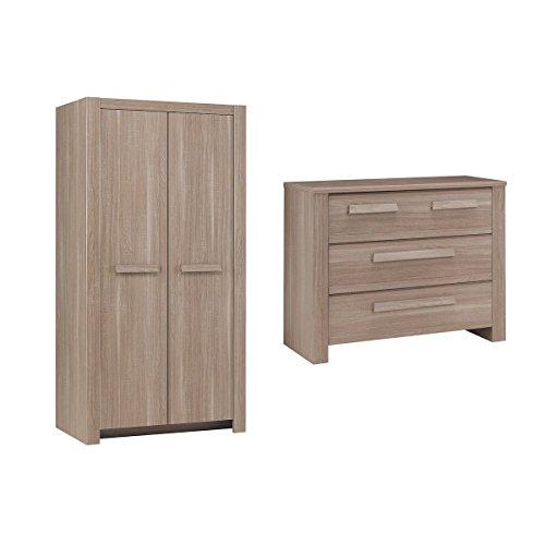 Commode 3 tiroirs et Armoire 2 portes Hangun - Bois