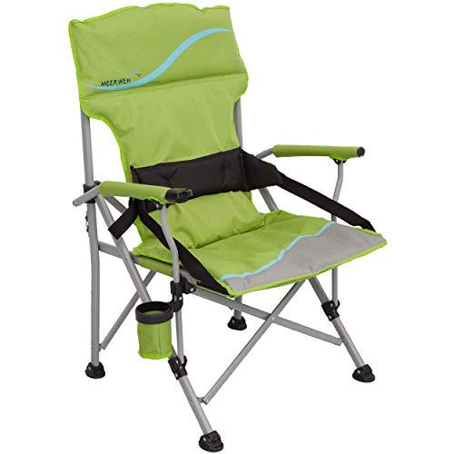 Deluxe campingstoel XXL, met rugondersteuning, tot 120 kg, groen grijs