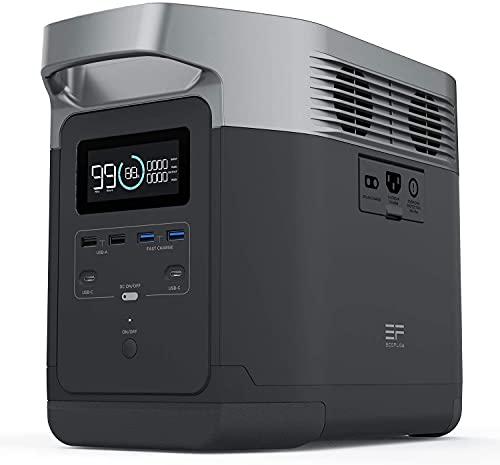 EF ECOFLOW(エコフロー) DELTA ポータブル電源 大容量 1260Wh 純正弦波 家庭用蓄電池 AC(1600W 瞬間最大3100W) 50Hz/60Hz MPPT制御方式 液晶大画面表示 車中泊 キャンプ 防災グッズ 停電時に 24ヶ月保証