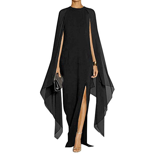 MAYFASEY Women's Flare Chiffon Sleeve High Split Formal Evening Gown Maxi Dress with Cape Black XXL