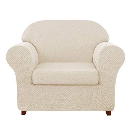 TOYABR 2-PieceSeersucker JacquardStretchyFabricDinning Room SofaSlipcoversFittedSofaProtector (Chair, Cream Ivory)