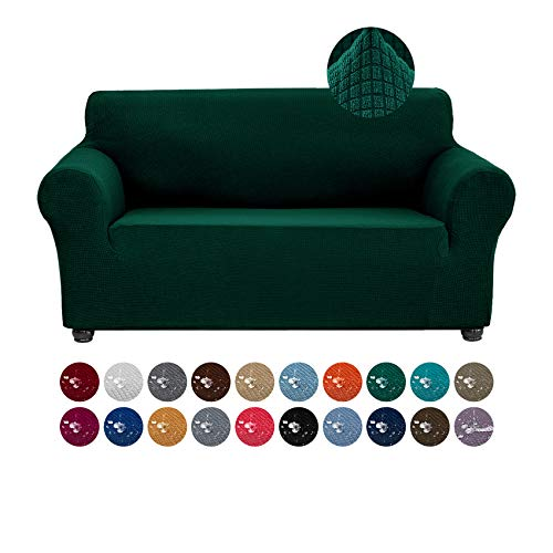 Joccun Stretch Loveseat Couch Cover Slipcover, 1-Piece Water Repellent Sofa Cover for 2 Cushion Couch Spandex Jacquard Washable Furniture Protector Cover for Living Room,Kids,Pets(Loveseat,Hunter)