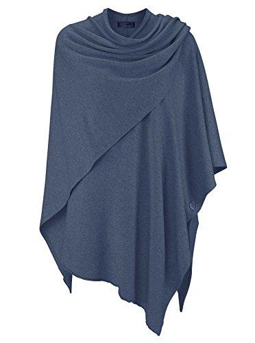Zwillingsherz Poncho-Schal mit Kaschmir - Hochwertiges Cape für Damen - XXL Umhängetuch und Tunika mit Ärmel - Strick-Pullover - Sweatshirt - Stola für Sommer und Winter von Cashmere Dreams (Jeans)