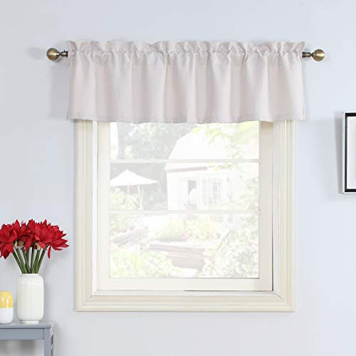 Rama Rose Off White Window Curtain Valance 56x16 for Girl Room Bedroom Living Room Rod Pocket Block Topper Curtains Valance 16 Inches Long by 56 Inches Wide