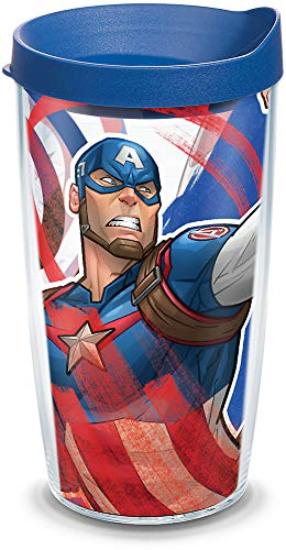 Tervis Marvel-Captain America Iconic Made in USA Double Walled Insulated Tumbler, 1 Count (Pack of 1), Clear