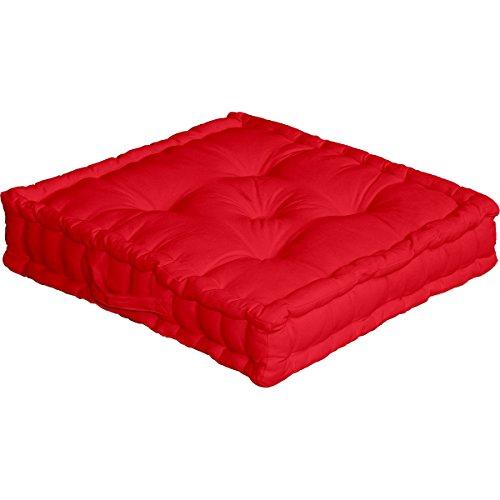 Cuscino da pavimento con maniglia, 50 x 50 x 10 cm, 100% cotone, Rosso