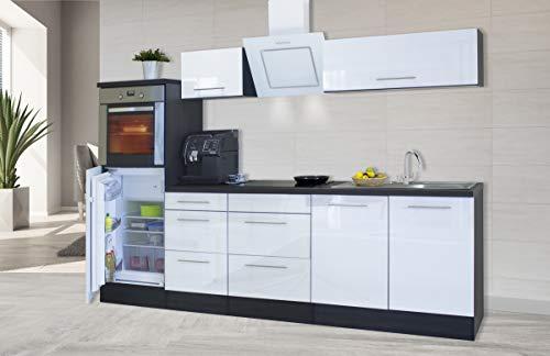 respekta Küchenzeile Küche Küchenblock Einbauküche Hochglanz 270 cm Eiche (Weiß)