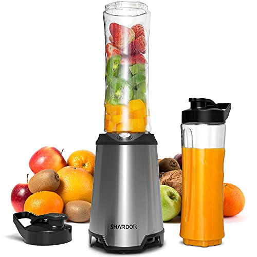 SHARDOR Mixer Smoothie Maker Mix & Go 350W für Gemüse/Obst/Tiefkühlfrüchte/Milch /Juice Shakes Babynahrung Standmixer Elektrisch Blender Mini Mit 2*600ml BPA-freie Tragbar Sport Trinkflasche