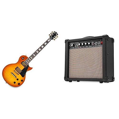 Rocktile Pro L-200OHB E-Gitarre Orange Honey Burst & Scream 15 Gitarrenverstärker Mini Combo Amp (15 Watt Amplifier, 2-Kanäle, Portable, AUX-In für MP3/CD, 3-Band Equalizer, Kopfhöreranschluss)