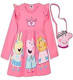 Peppa Pig Mädchen Kleider, 100% Baumwolle Baby Kleid, Peppa Wutz Einschulung Kleid für Sommer, Festliche Mädchenkleider 12 Monate - 6 Jahre, Kinder Geschenke (Dunkelrosa, 18-24 Monate)