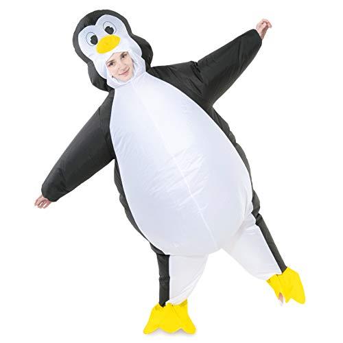 Spooktacular Creations Aufblasbares Kostüm Pinguin mit Luftblasen für Halloween, Erwachsenengröße, 1,52 cm bis 1,9 m, Weiß