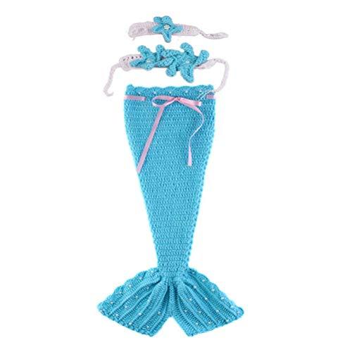 Toyvian Hermosa sirena accesorios de fotografía Bebé recién nacido traje tejer crochet...