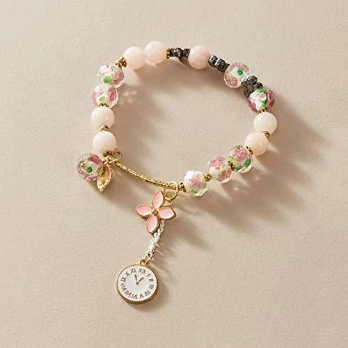 Pulseras Brazalete Personalidad Charm Pandora Pulsera para Mujer Accesorios Cuentas Multicolores Reloj Flor Oro Pulseras De Lujo Tendencia Rosa