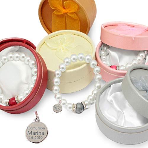 Pack 5 pulseras perlas con piedra de color. Personalizada con chapa grabada con el texto que quieras. Para bodas, bautizos comuniones y cualquier evento.