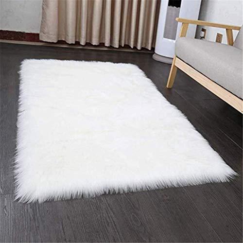 HEQUN Faux pelliccia di agnello di pecora tappeto, pelliccia sintetica Soffice Pelliccia di agnello imitazione Tappeto Longhair effetto pelliccia divano letto (white, 50 X 150 CM)