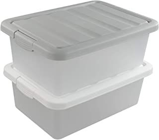 Sandmovie 14 Quart Plastic Large Storage Boxes Containers Bins with Lids and Locks, White and Gray, 2 Packs