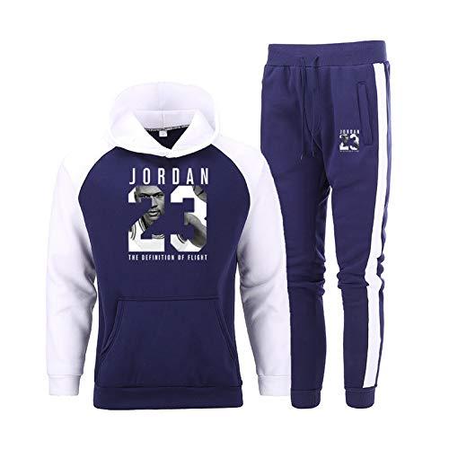 JNDM # 23 Sitio de chándal de suéter de Baloncesto para Hombre Set de suéter para Hombres, Sudadera con Capucha y Pantalones de Baloncesto Conjunto Casual 2 Piezas Set ne 6-XL