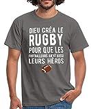 Spreadshirt Dieu Créa Le Rugby T-Shirt Homme, L, Gris Graphite