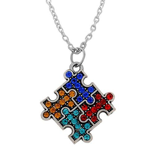 Halskette mit Anhänger, rhodiniert, für Autismus, Puzzleteil, mehrfarbiger Kristall, Schmuck