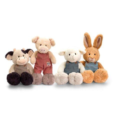 Keel Toys Steppenläufer Bauernhoftiere mit Latzhose-Super süß, Menü Hase oder Kuh, Schaf, Schwein