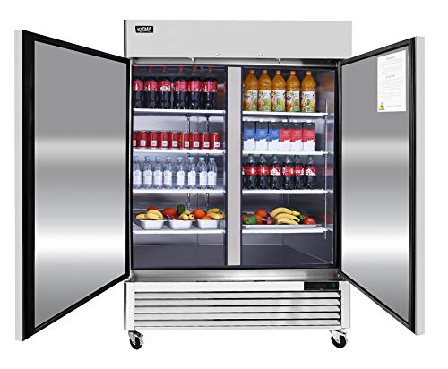 2 Door Commercial Refrigerator, Stainless Steel Upright Refrigerator with 6 Adjustable Shelves, 49...