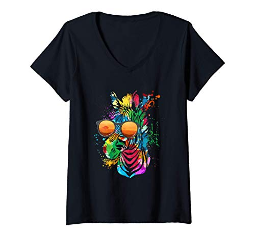 Mujer Divertida cebra con gafas de sol Cool Rainbow Safari Zoo Camiseta Cuello V