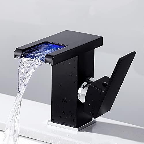 Grifo Lavabo Cascada, Grifo Moderno Baño con Luz LED, Mezclador de Baño Monomando Griferia Agua Fría y Agua Caliente, Adecuado Para Baño, Inodoro (Incluidos Accesorios) (negro)