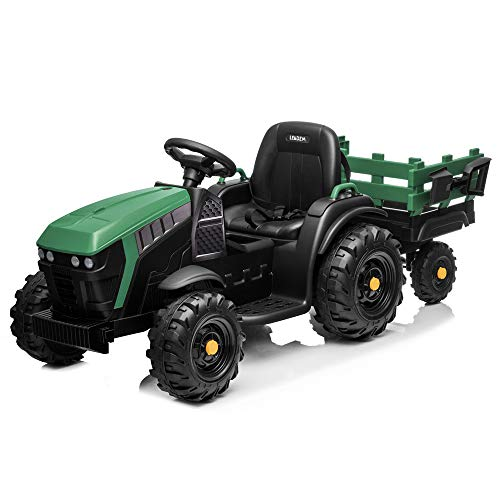 VALUE BOX Extra Larger 12V Ride on Tractor with Trailer, Battery Powered Electric Agricultural Vehicle Toy Car Ground Loader w/ 2 Speeds, Detachable Wagon, Shovel, LED Lights, MP3 player, Radio, Green