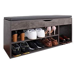 RICOO WM034-BG-A Banco Zapatero 104x49x30cm Armario Interior con Asiento Organizador Zapatos Mueble recibidor Perchero Madera Gris Cemento
