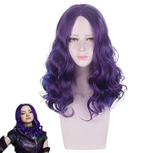 Descendientes 3 Mal Wave peluca rizada Cosplay disfraz resistente al calor pelo sintético mujeres pelucas de Cosplay
