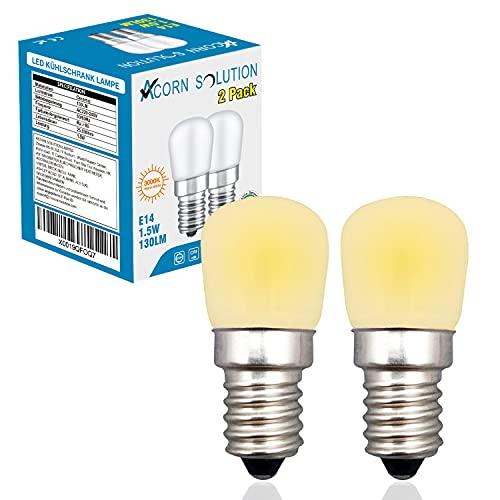 AcornSolution 1.5w E14 Kleine Edison-Glühlampe Kühlschranklampe 15W Halogenersatz 2W SES Mini-LED-Lampe Warmweiß 3000K E14 LED-Lampe für Kühlschrank/Mikrowelle / (2 Stück) [Energieklasse A +]