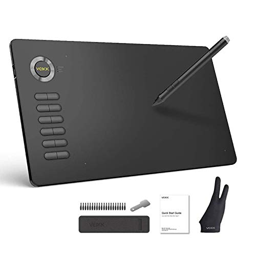 VEIKK A15 Graphic Drawing Tablet 10x6 inch Digital Pen Tablet with Battery-Free Passive Stylus and 12 Shortcut Keys