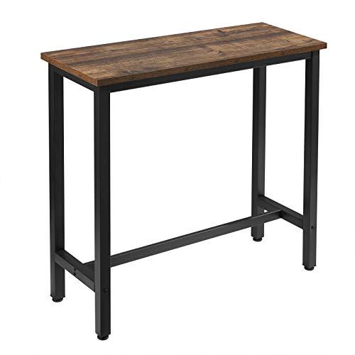 WOLTU BT33hov 1x Bartisch Bistrotisch Stehtisch Esstisch, Metallgestell, Tischplatte aus MDF, Holz Vintage, 100x40x100cm(BxTxH)