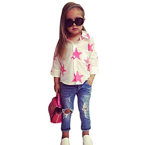 Kobay Kleinkind Kinder Baby Mädchen Stern T-Shirt Tops Denim Hosen 2 Stücke Outfits Kleidung Set