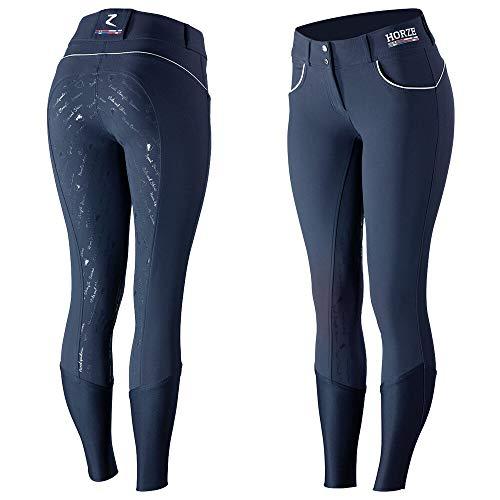 horze Nordic Performance Reithose Damen   Silikon Grip   Vollbesatzhose   Mittlere Bundhöhe, Breiter Bund, 34-44, Marineblau, Blau, 38