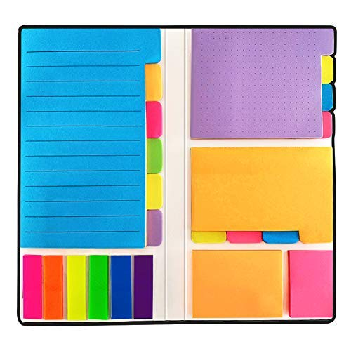 Sticky Notes - Self-Stick Notes Divider Notes 60 Ruled Lined Notes (4x6),48 Dotted Notes (3x4),48 Blank Notes(4x3),48 Orange and Pink,25 per PET Color - 402 pcs Divider Sticky Notes