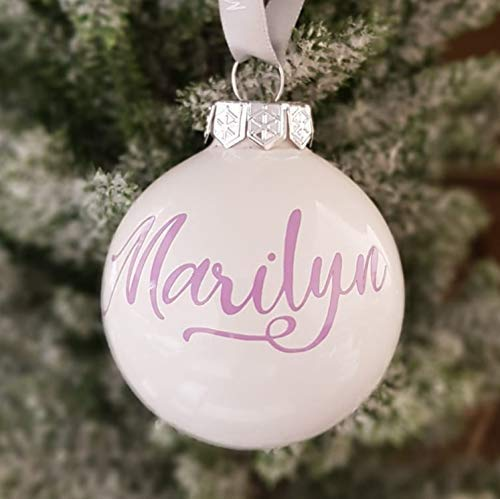 Bola de cristal de adorno de Navidad blanca con texto personalizado de lavanda