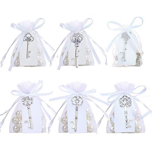 Awtlife - Apribottiglie a chiave in stile vintage, in argento, stile rustico, con cartellini trasparenti per bomboniere, decorazioni per feste, 30 pezzi