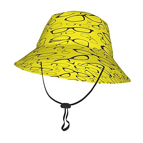 GAHAHA Sombrero de sol para bebé, gafas negras amarillas para niños con correa ajustable para la barbilla suave para todas las estaciones Beach Cap al aire libre Seaside Fisherman Cap
